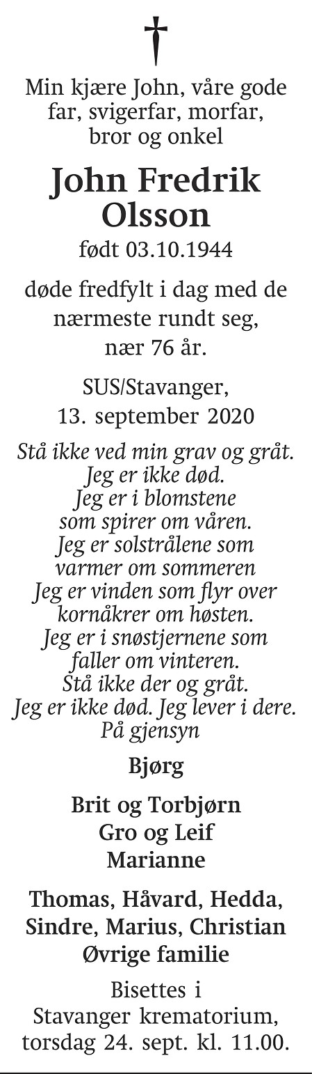 John Fredrik Olsson Dødsannonse
