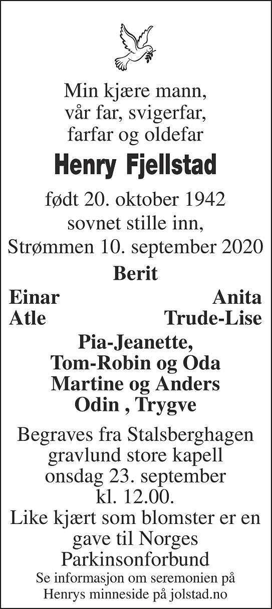 Henry Fjellstad Dødsannonse