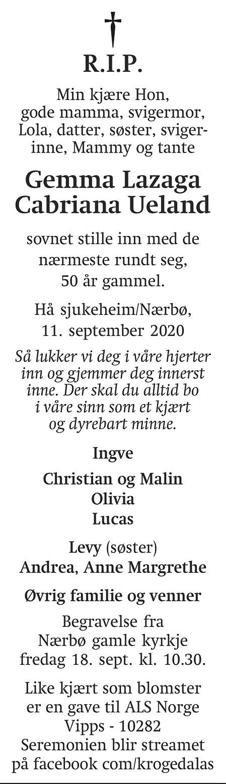 Gemma Lazaga Cabriana Ueland Dødsannonse