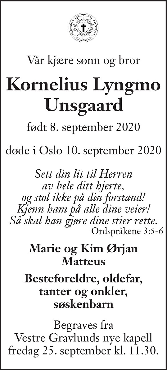 Kornelius Lyngmo Unsgaard Dødsannonse
