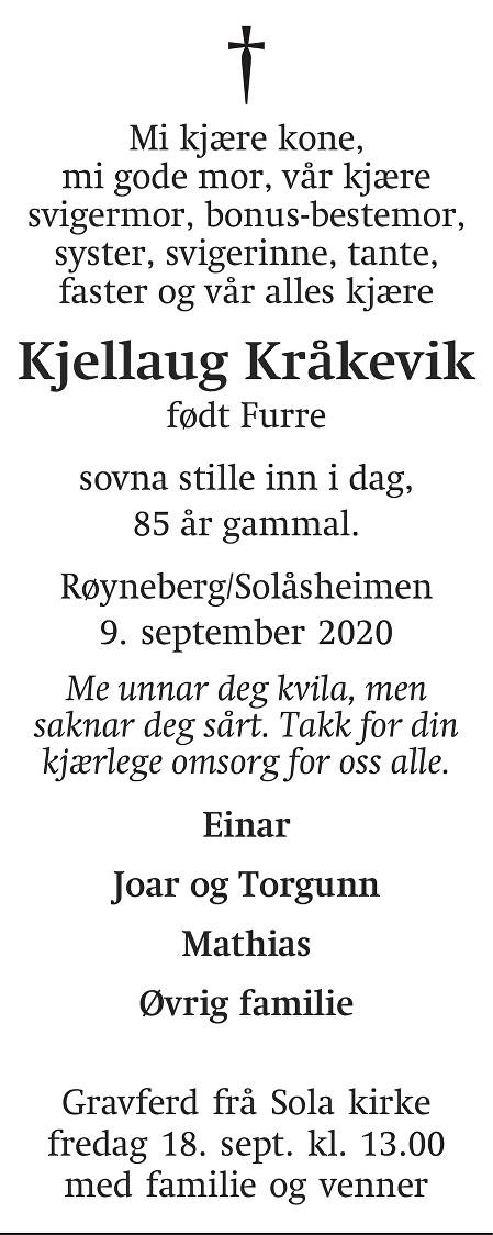 Kjellaug Kråkevik Dødsannonse