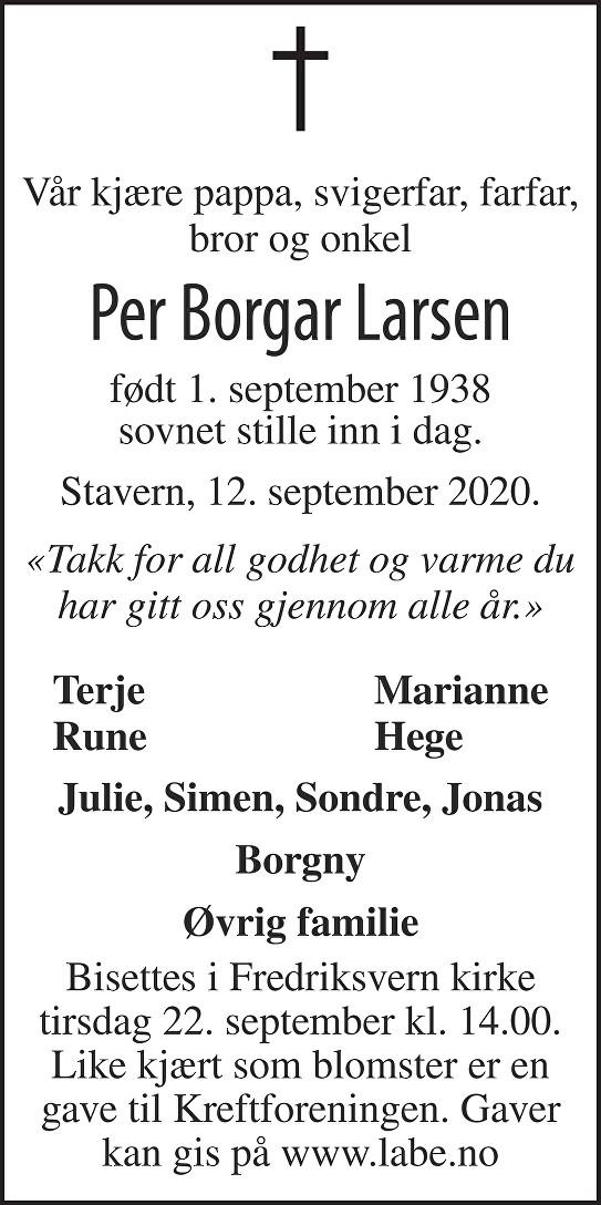 Per Borgar Larsen Dødsannonse