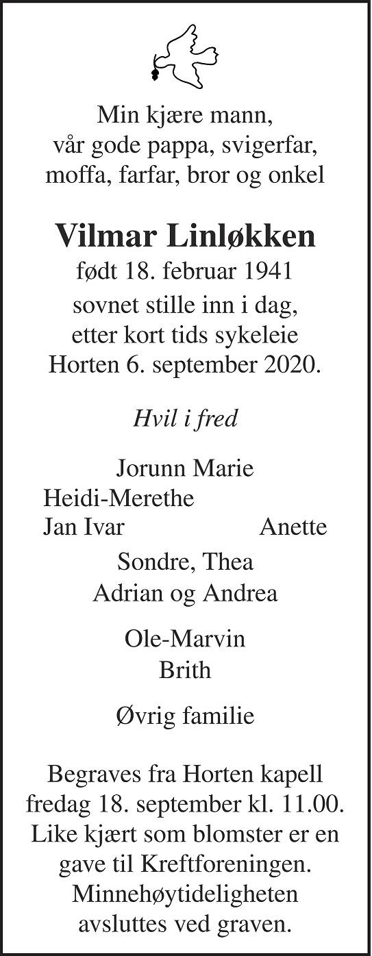 Vilmar Håver Jon Linløkken Dødsannonse