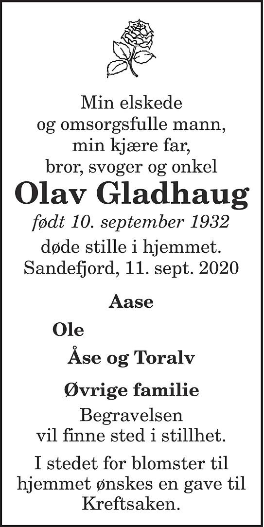 Olav Gladhaug Dødsannonse