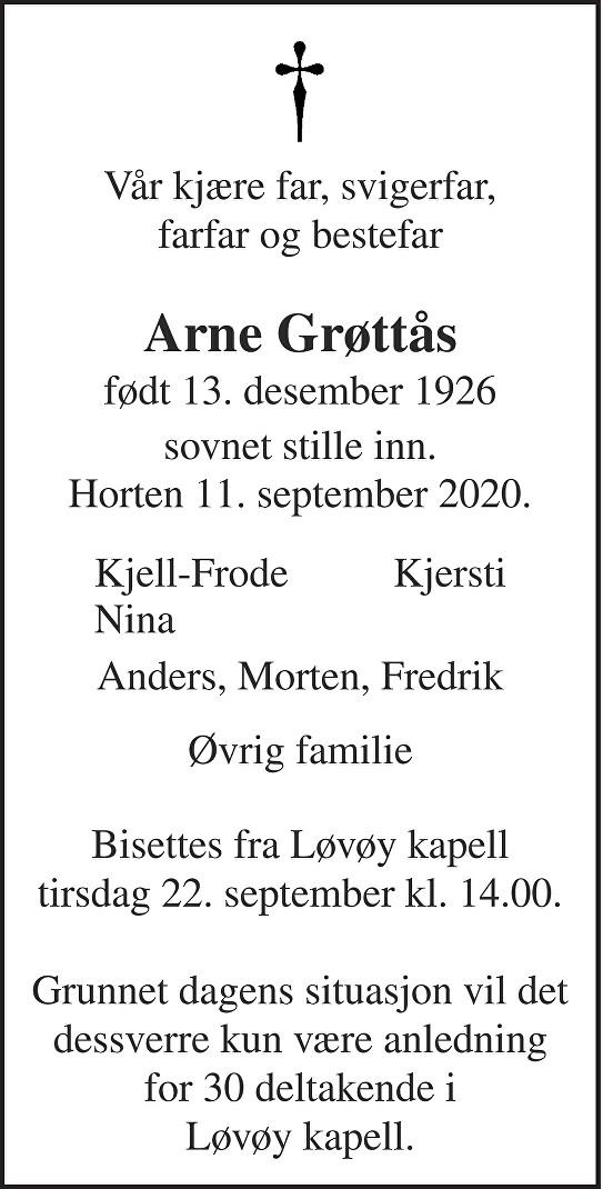 Arne Grøttås Dødsannonse