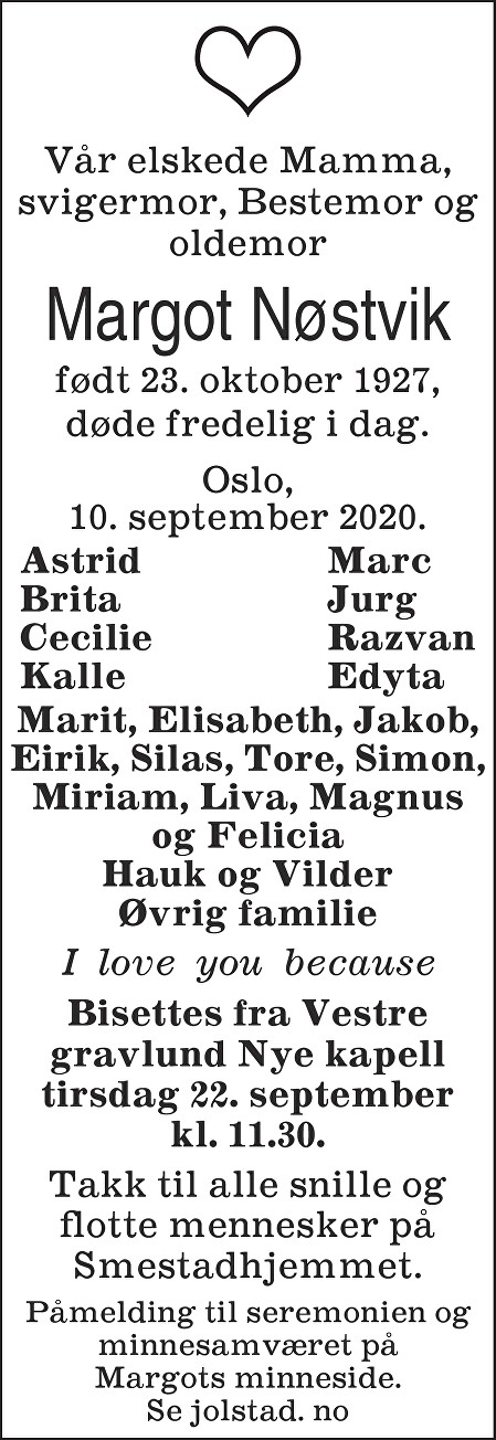 Margot Nøstvik Dødsannonse