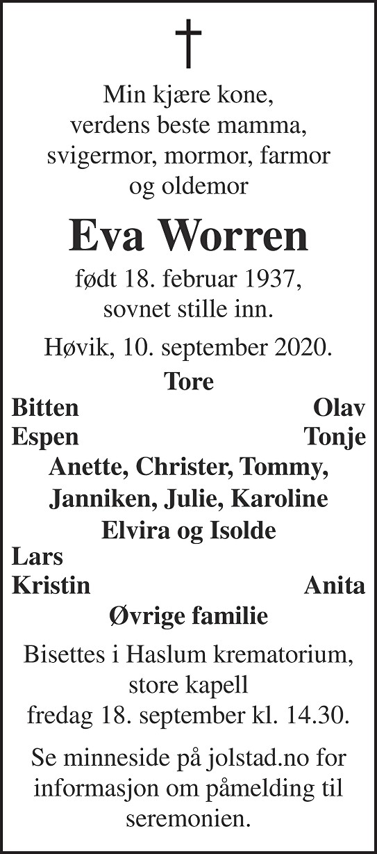 Eva Worren Dødsannonse