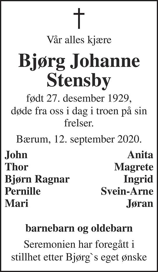 Bjørg Johanne Stensby Dødsannonse