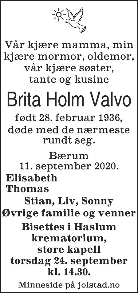 Brita Holm Valvo Dødsannonse