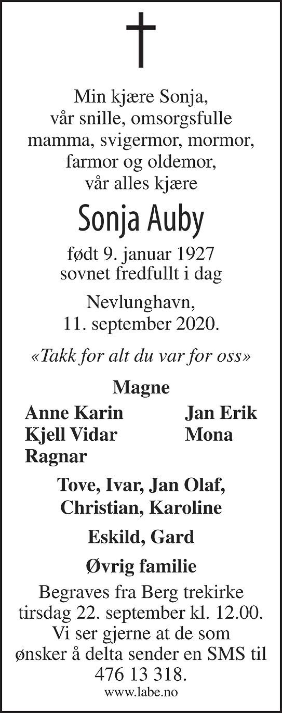 Sonja Valborg Auby Dødsannonse