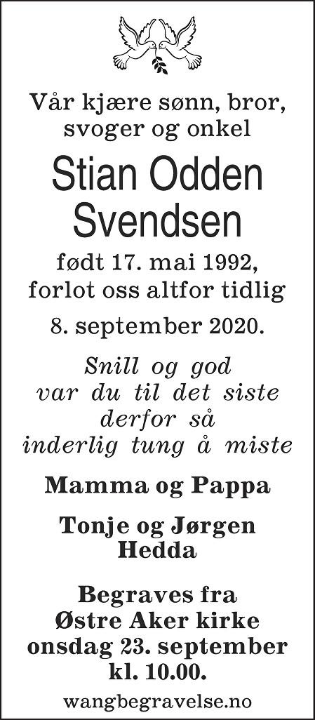 Stian Svendsen Dødsannonse