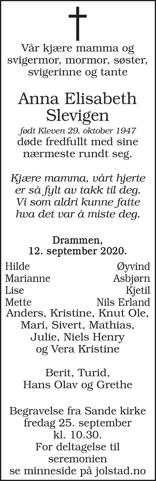 Anna Elisabeth Slevigen Dødsannonse