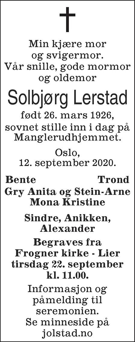 Solbjørg Lerstad Dødsannonse