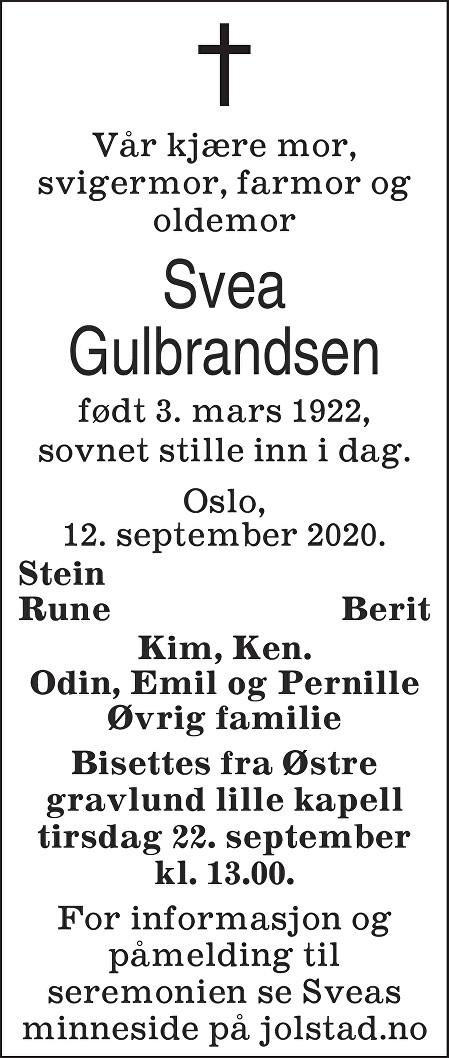 Svea Gulbrandsen Dødsannonse