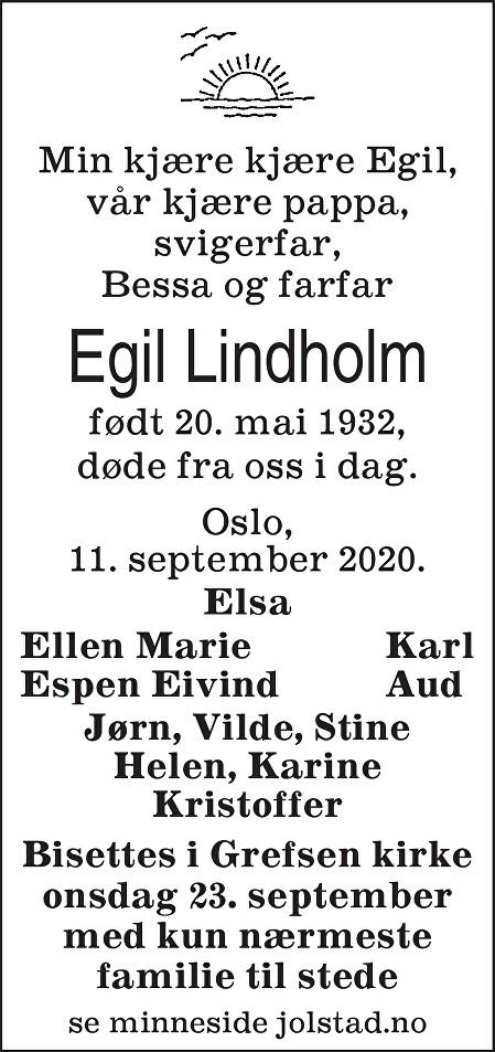 Egil Lindholm Dødsannonse