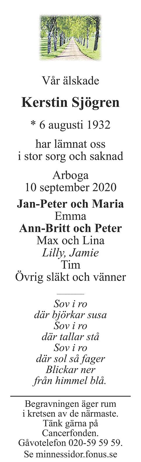 Kerstin Sjögren Death notice