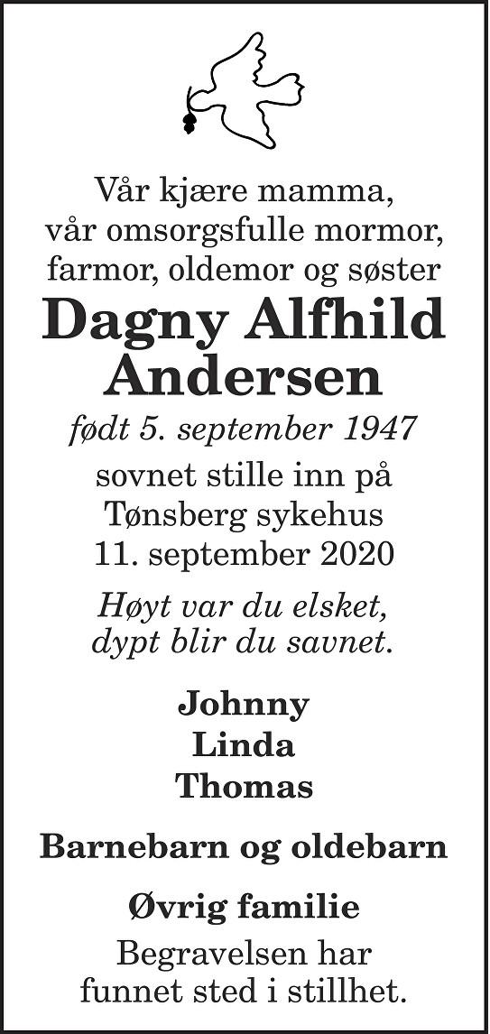 Dagny Alfhild Andersen Dødsannonse