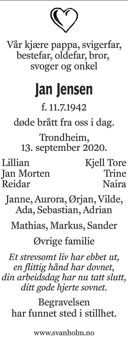Jan Jensen Dødsannonse
