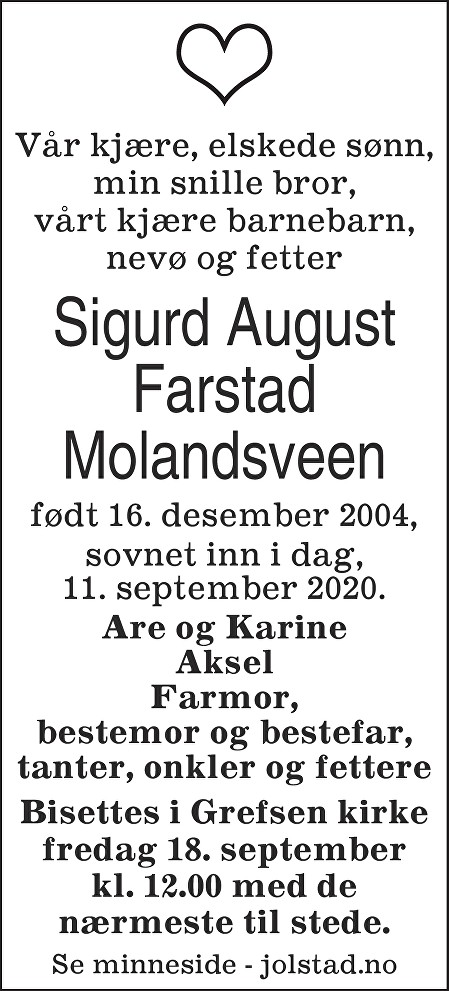 Sigurd August Farstad Molandsveen Dødsannonse