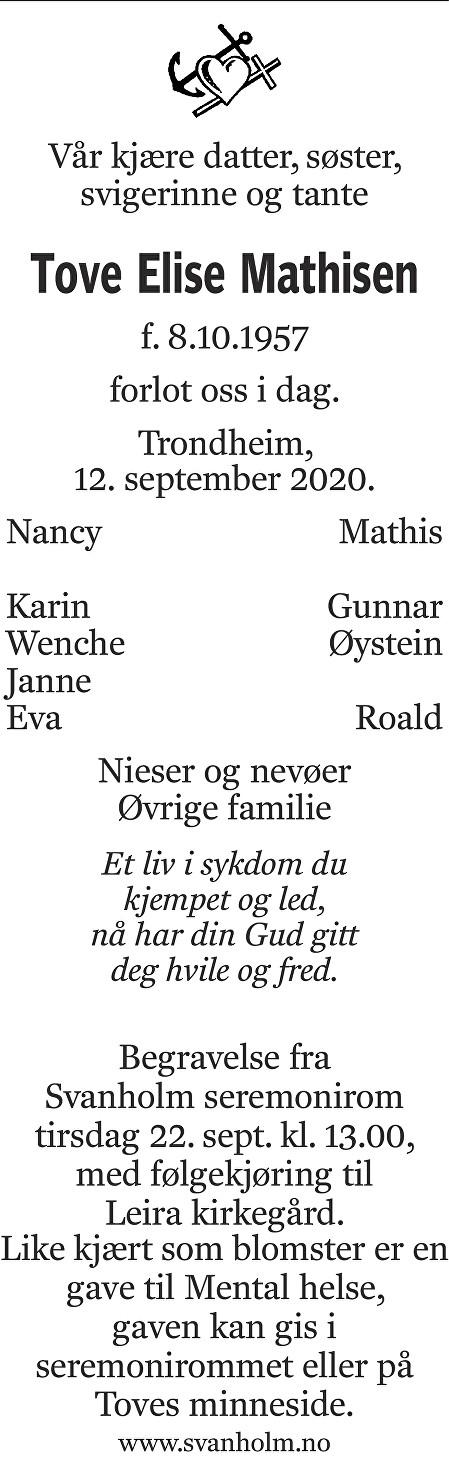 Tove Elise Mathisen Dødsannonse