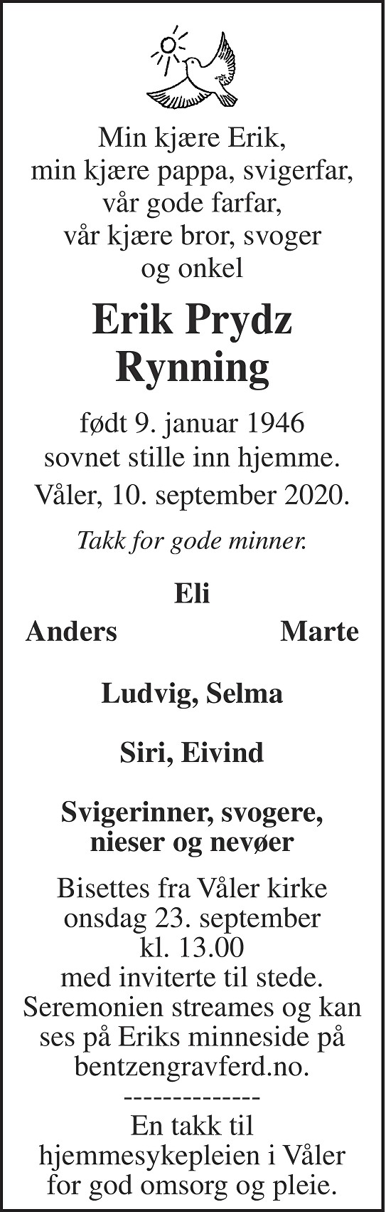 Erik Prydz Rynning Dødsannonse