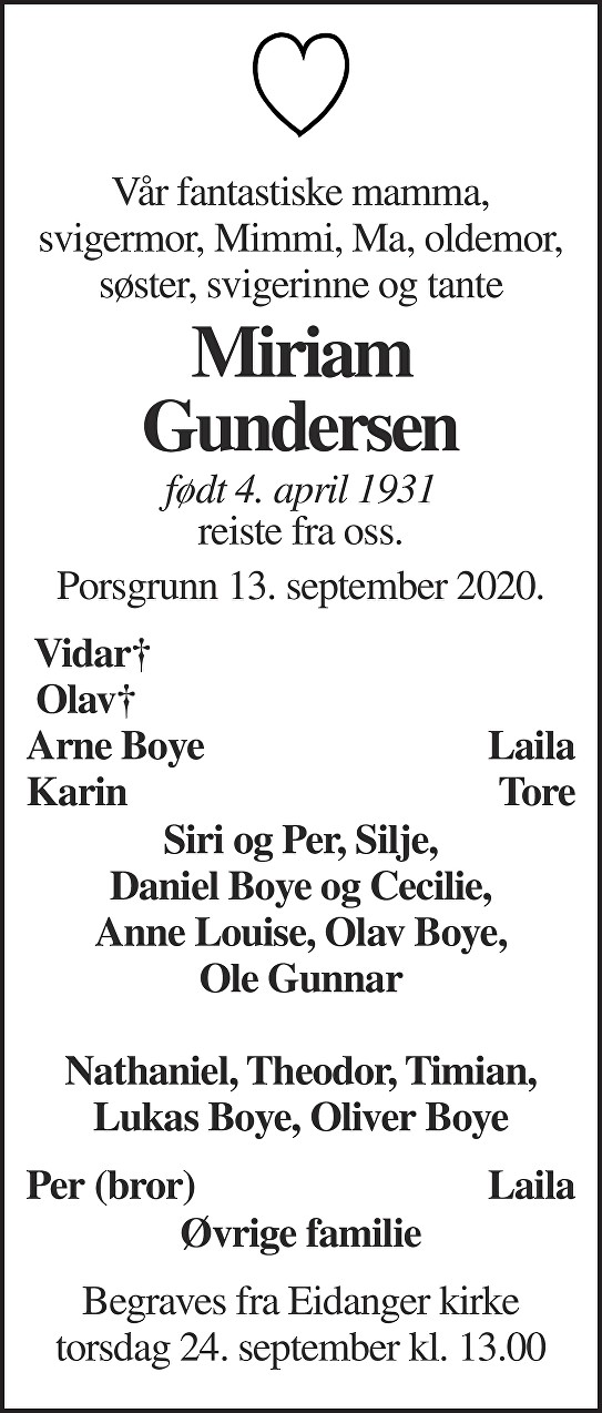 Miriam Gundersen Dødsannonse