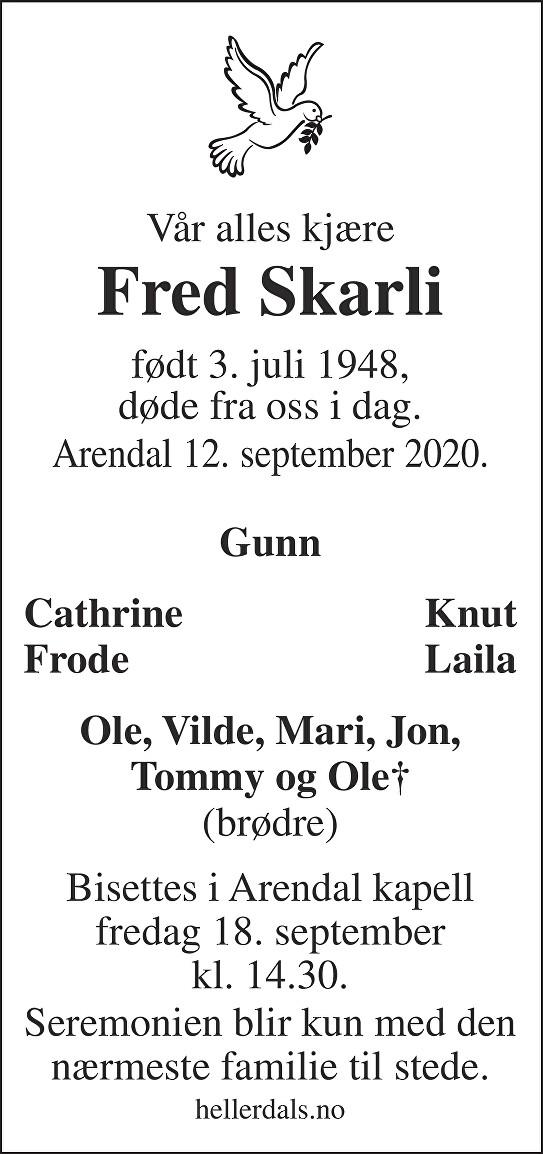 Fred Skarli Dødsannonse