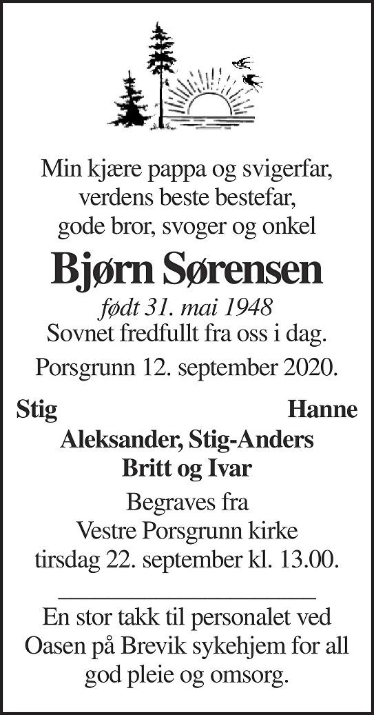Bjørn Sørensen Dødsannonse