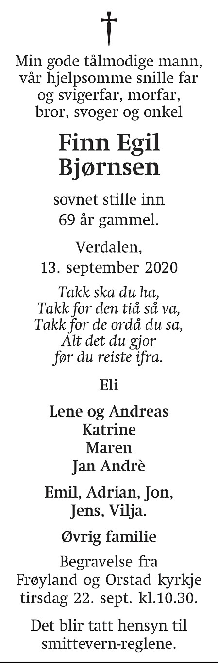 Finn Egil Bjørnsen Dødsannonse