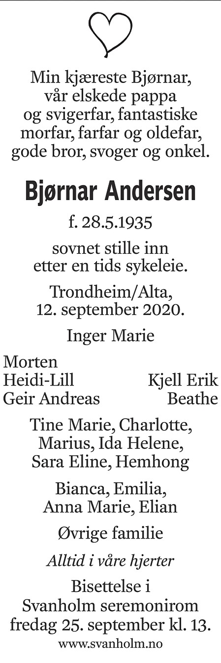Bjørnar Andersen Dødsannonse