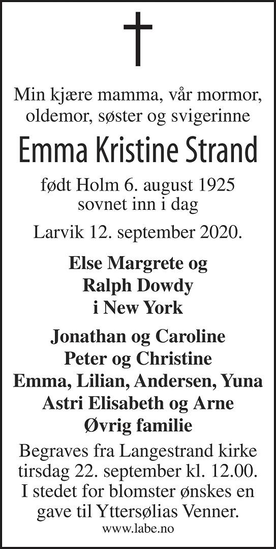 Emma Kristine Strand Dødsannonse