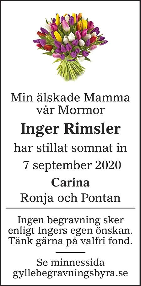 Inger Rimsler Death notice