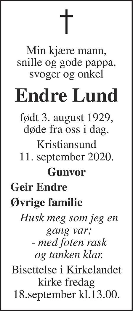Endre Lund Dødsannonse