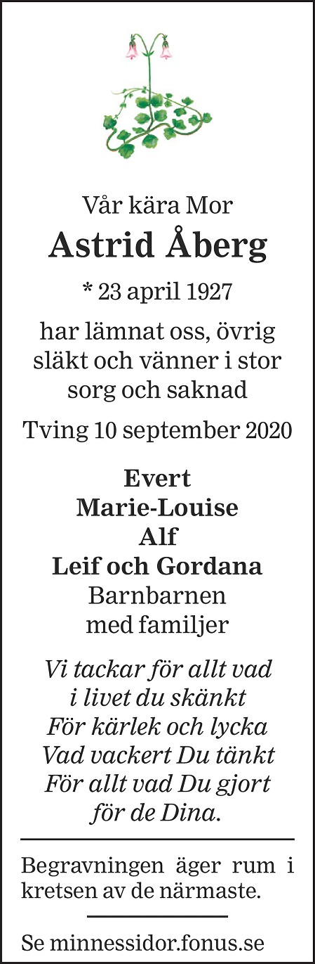 Astrid Åberg Death notice