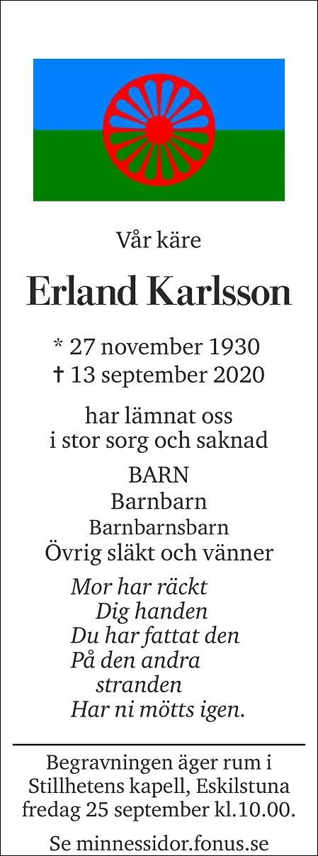 Erland Karlsson Death notice
