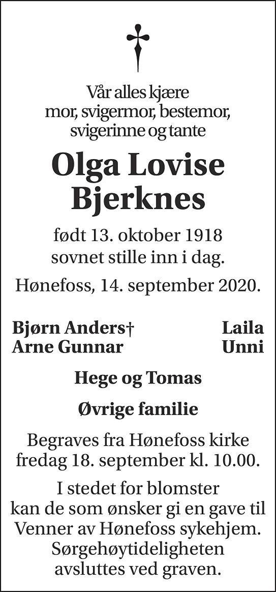 Olga Lovise Bjerknes Dødsannonse