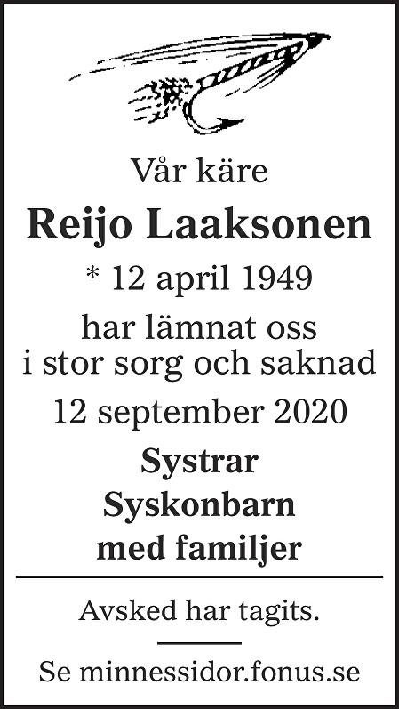 Reijo Laaksonen Death notice