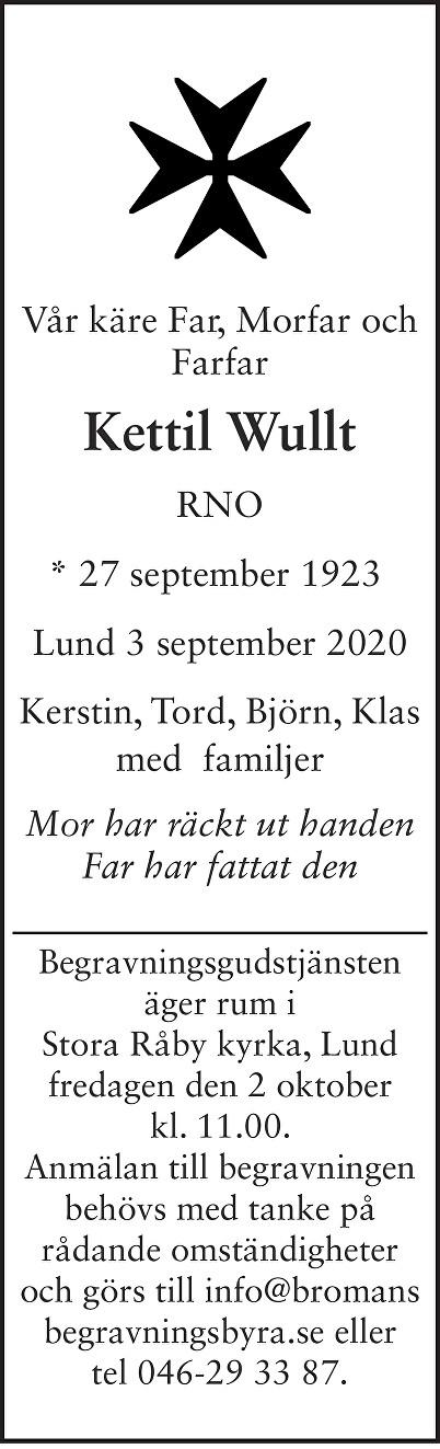 Kettil Wullt Death notice