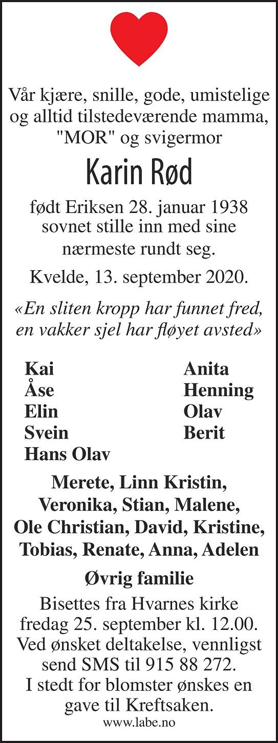 Karin Rød Dødsannonse