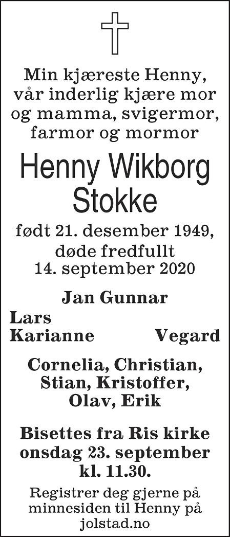 Henny Wikborg Stokke Dødsannonse