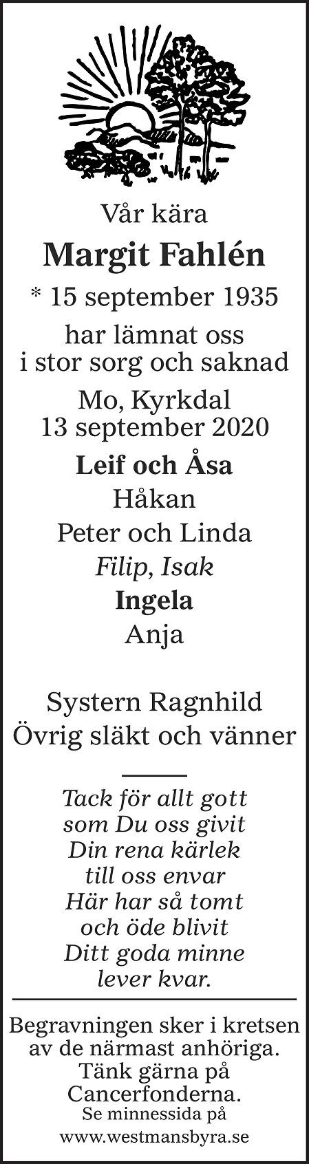 Margit Fahlén Death notice