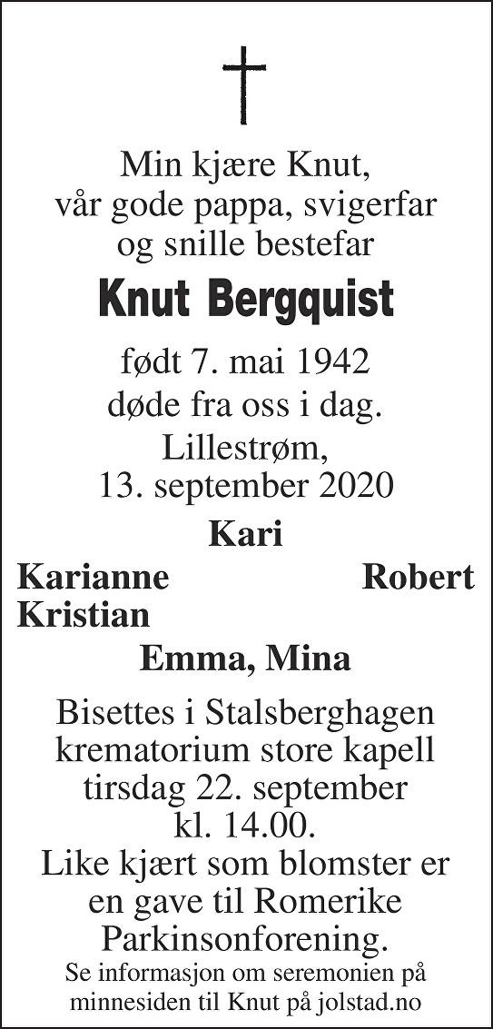 Knut Bergquist Dødsannonse