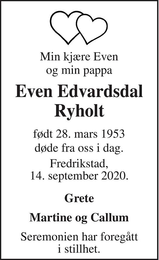 Even Edvardsdal Ryholt  Dødsannonse