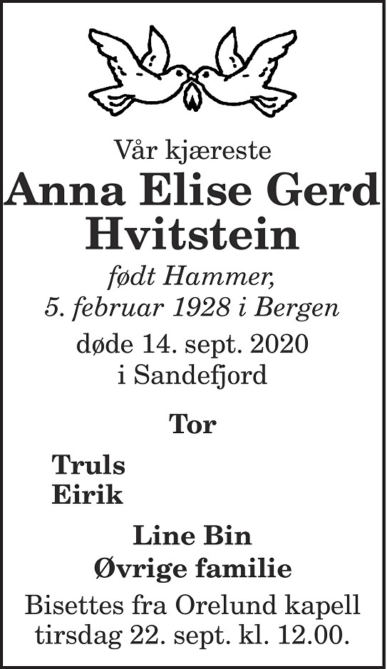 Anna Elise Gerd Hvitstein Dødsannonse