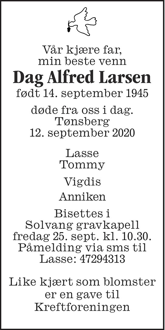 Dag Alfred Larsen Dødsannonse
