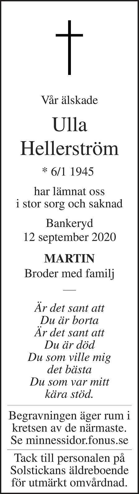 Ulla Hellerström Death notice
