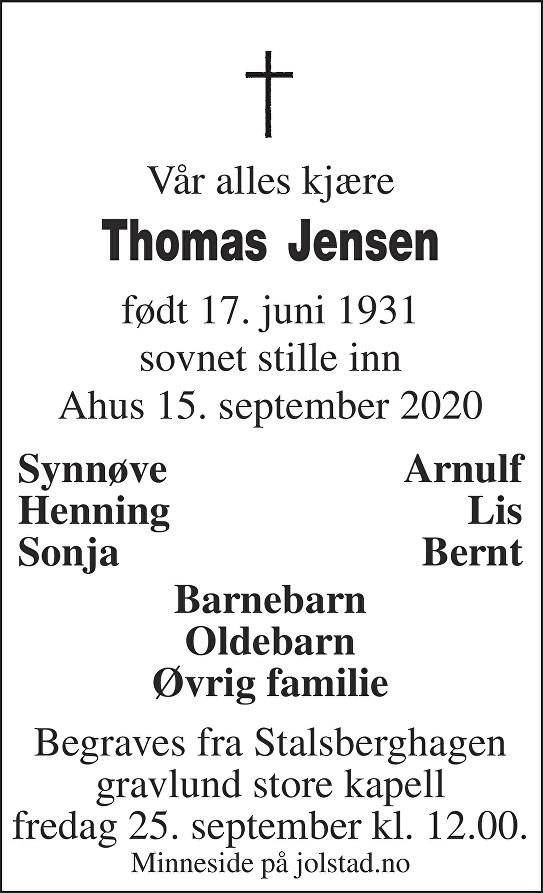 Thomas Jensen Dødsannonse