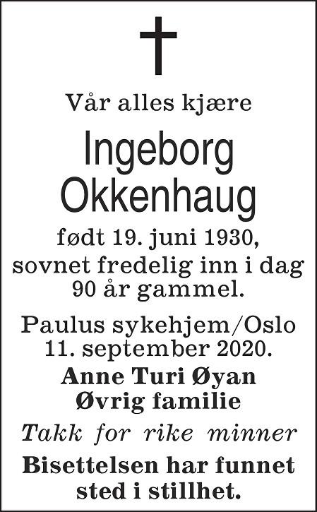 Ingeborg Okkenhaug Dødsannonse