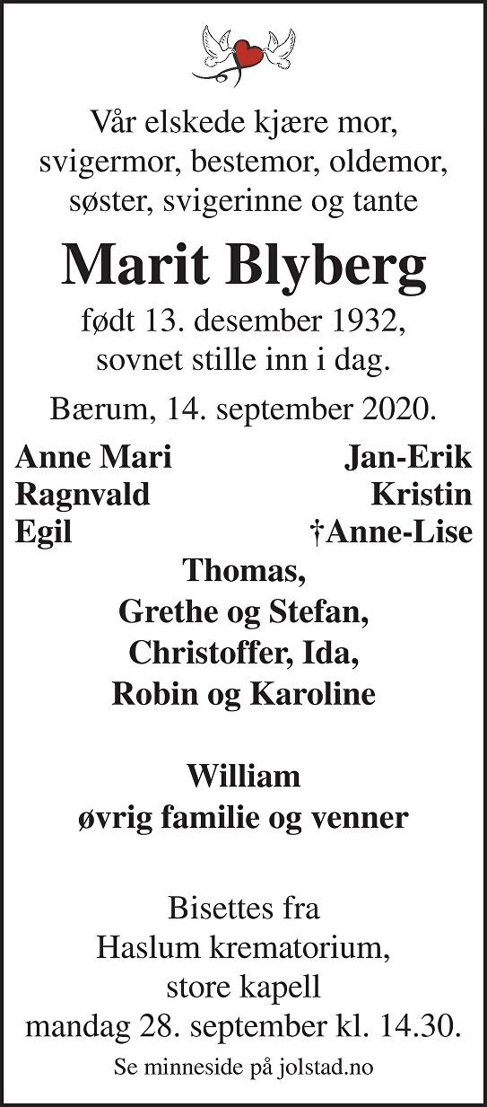 Marit Blyberg Dødsannonse