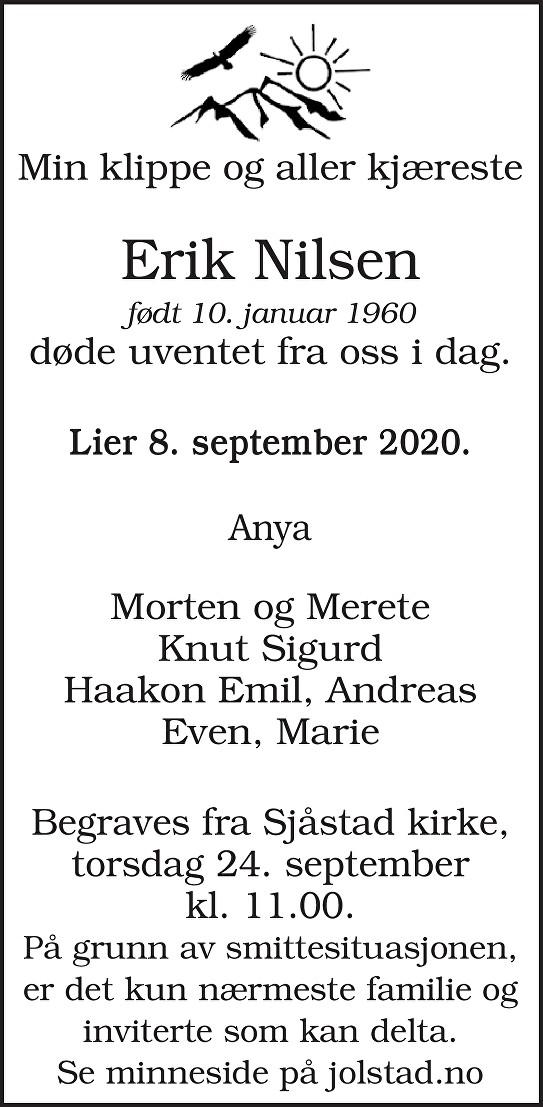 Erik Nilsen Dødsannonse
